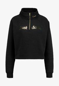 Nike Sportswear - FUNNEL ZIP SHINE - Sweater - black/metallic gold - 4