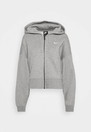 Zip-up hoodie - dark grey heather/white