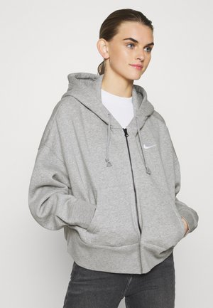 Mikina na zip - dark grey heather/white