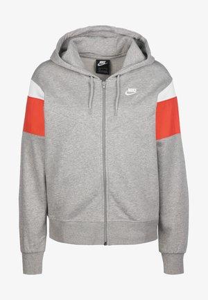 HERITAGE - Zip-up hoodie - grey heather/track red