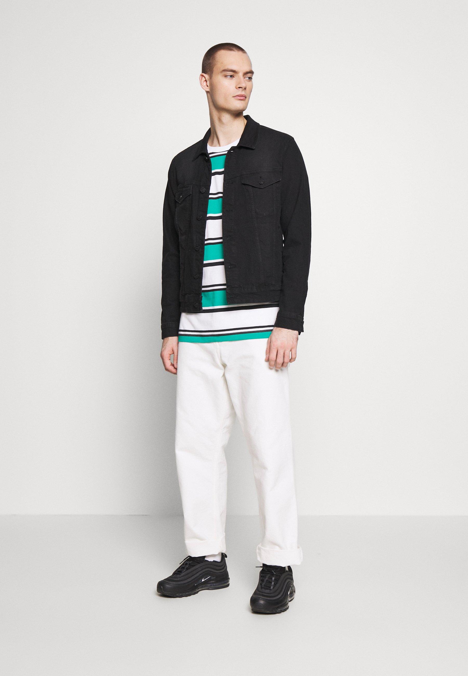 Nike Sportswear STRIPE TEE - T-shirt basic - white/neptune green/black