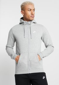 Nike Sportswear - CLUB FULL ZIP HOODIE - Collegetakki - dark grey heather/white - 0