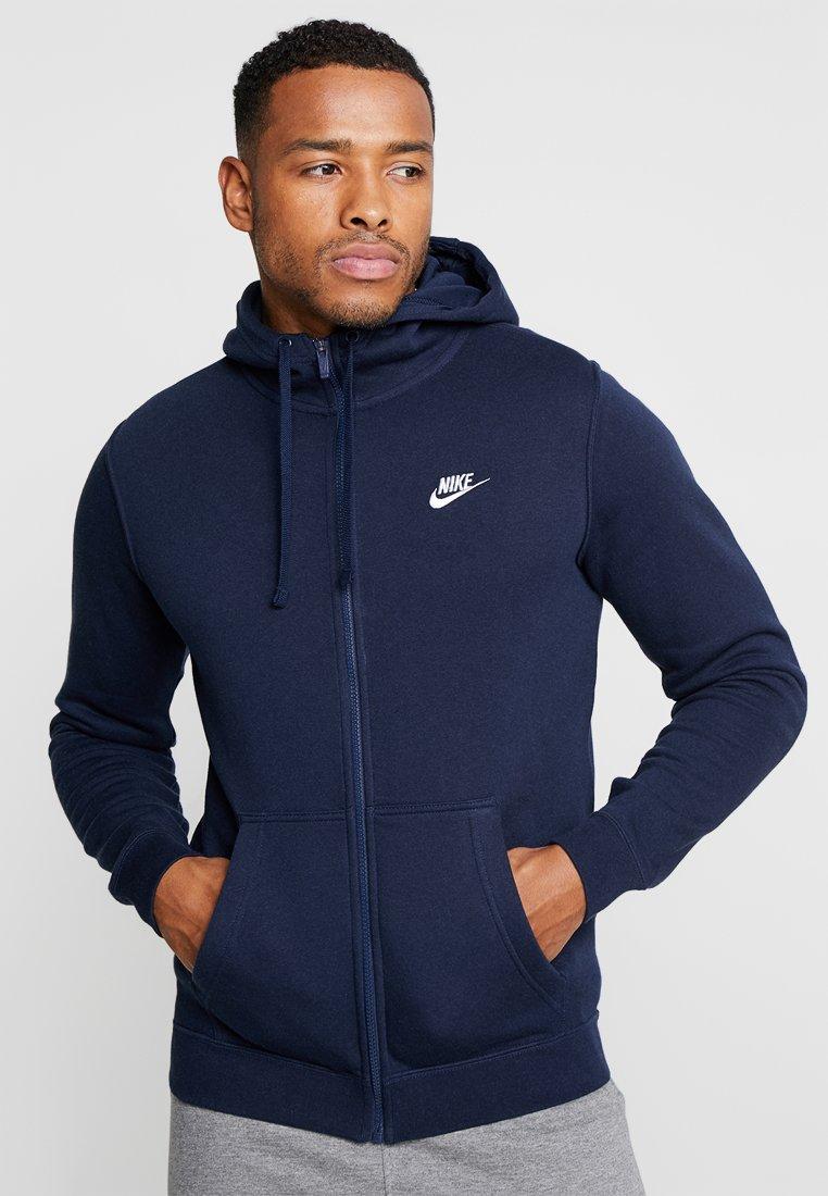 Nike Sportswear - CLUB FULL ZIP HOODIE - Zip-up hoodie - obsidian/white