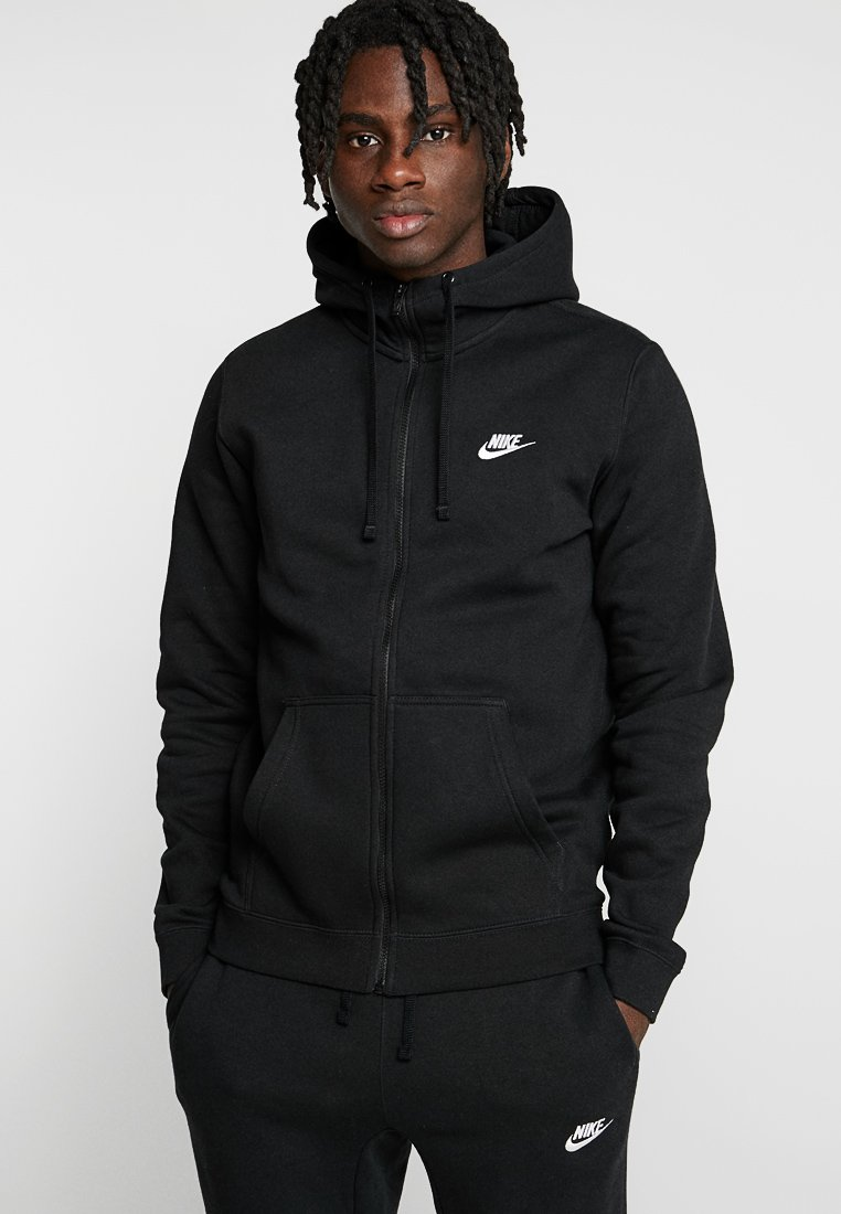 Nike Sportswear - CLUB FULL ZIP HOODIE - Zip-up hoodie - black/black/white