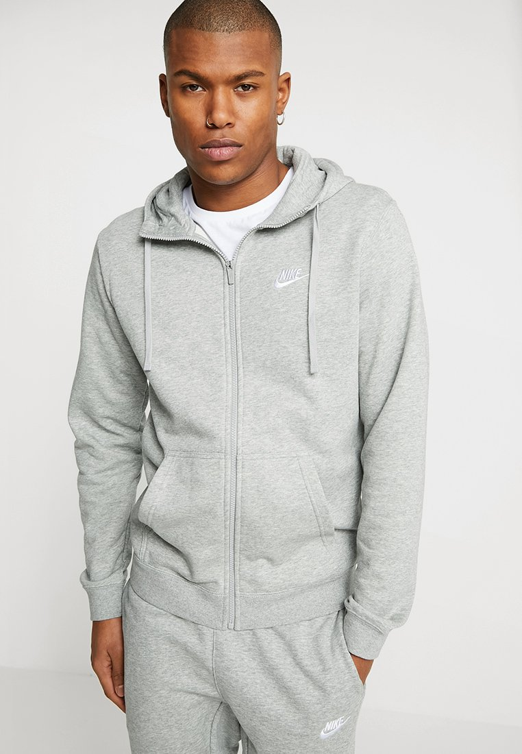Nike Sportswear - CLUB FULL ZIP HOODIE FRENCH TERRY - Sweatjacke - dark grey heather/white