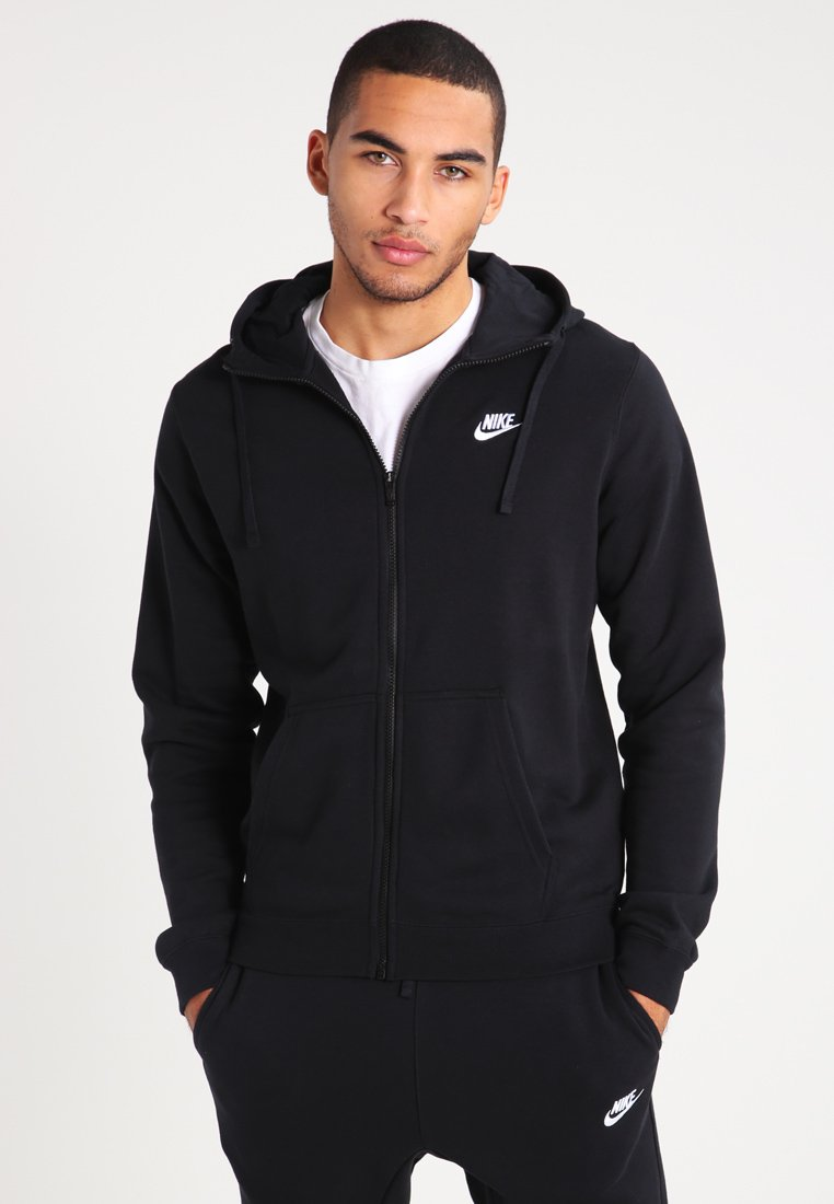 Nike Sportswear - CLUB FULL ZIP HOODIE FRENCH TERRY - Bluza rozpinana - black/white