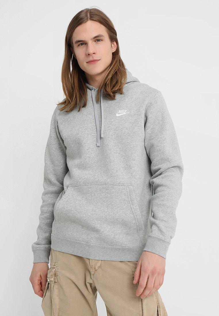 Nike Sportswear - CLUB HOODIE - Sweat à capuche - dark grey heather/white