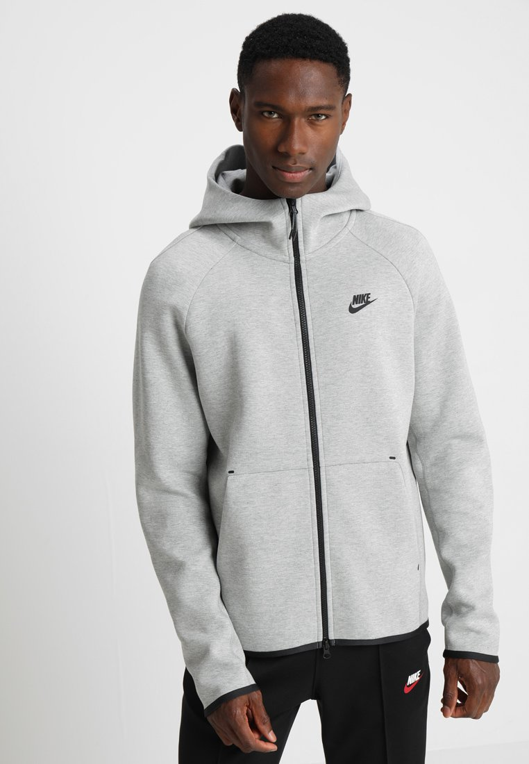 Nike Sportswear - TECH FULLZIP HOODIE - Bluza rozpinana - dark grey heather/black