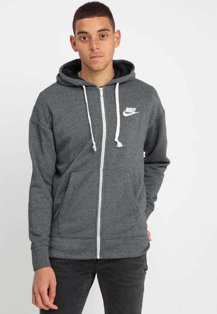 Nike Sportswear - HERITAGE HOODIE - Sudadera con cremallera - black/heather/sail
