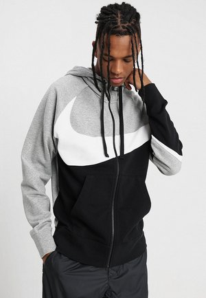 HOODIE - veste en sweat zippée - dark grey heather/white/black