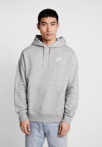 Nike Sportswear - CLUB HOODIE - Hoodie - grey heather/matte silver/white - 0