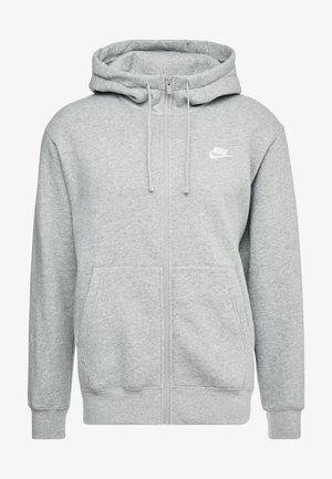 Zip-up hoodie - dark grey heather/matte silver/white