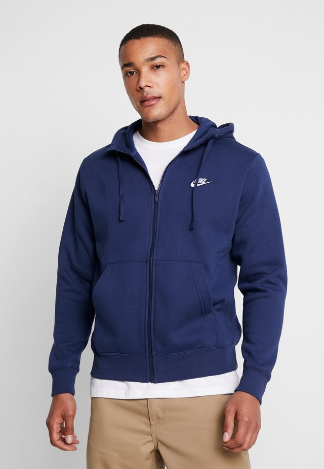 CLUB HOODIE - Huvtröja med dragkedja - midnight navy/white