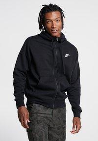 Nike Sportswear - CLUB HOODIE - Zip-up hoodie - black/black/white - 0
