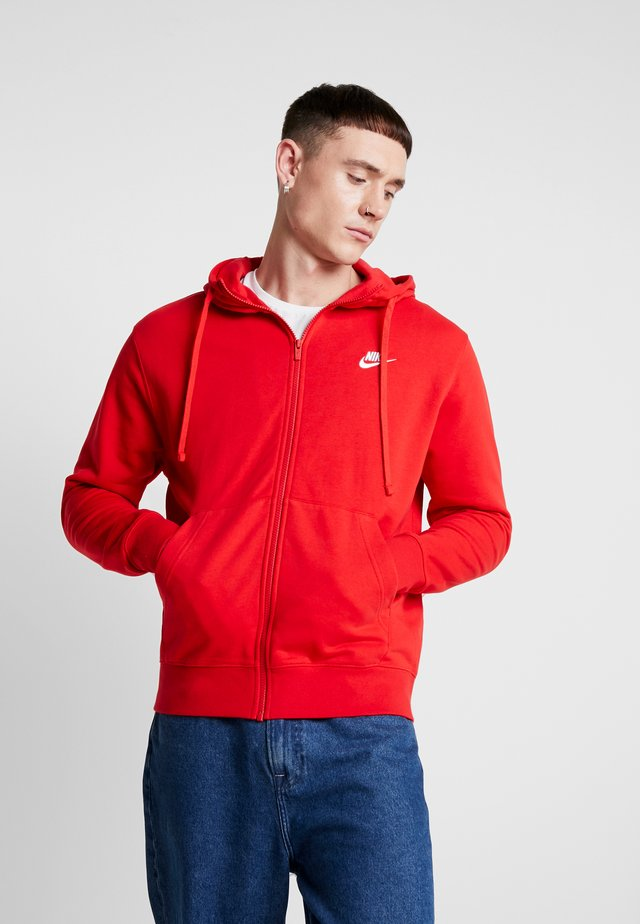 CLUB HOODIE - Huvtröja med dragkedja - university red/white
