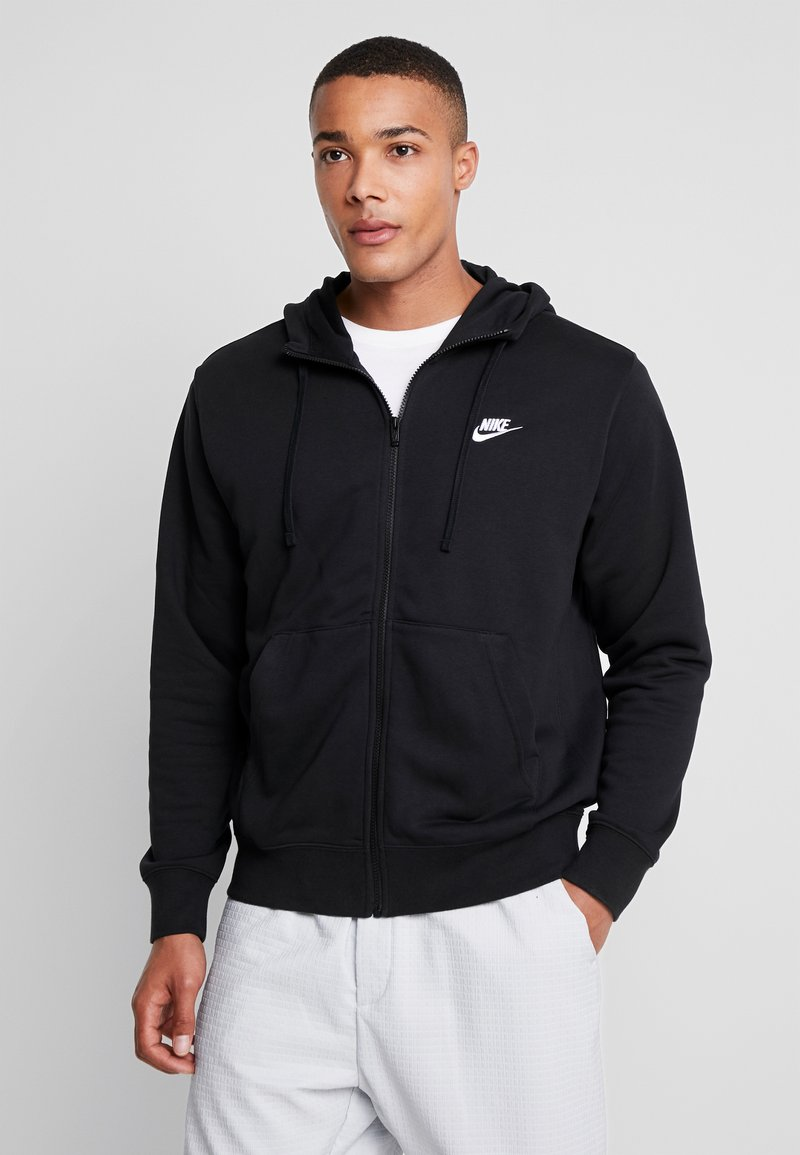 Nike Sportswear - CLUB HOODIE - Huvtröja med dragkedja - black/white