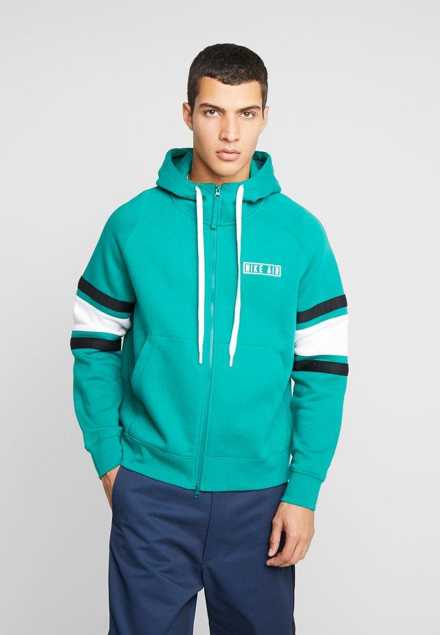 HOODIE - Zip-up hoodie - mystic green/white/black