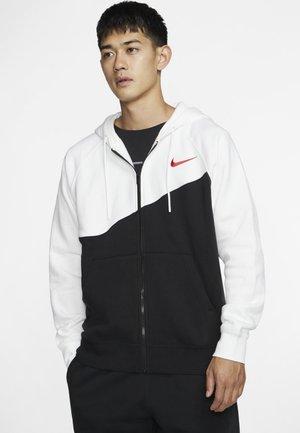 Zip-up hoodie - black/white/university red