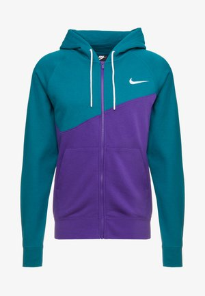 HOODIE - Huvtröja med dragkedja - court purple/geode teal/white
