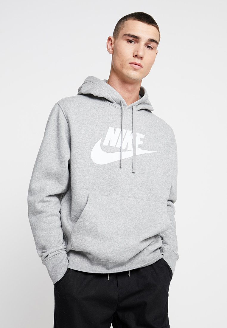 Nike Sportswear - CLUB - Felpa con cappuccio - dark grey heather/dark steel grey/white