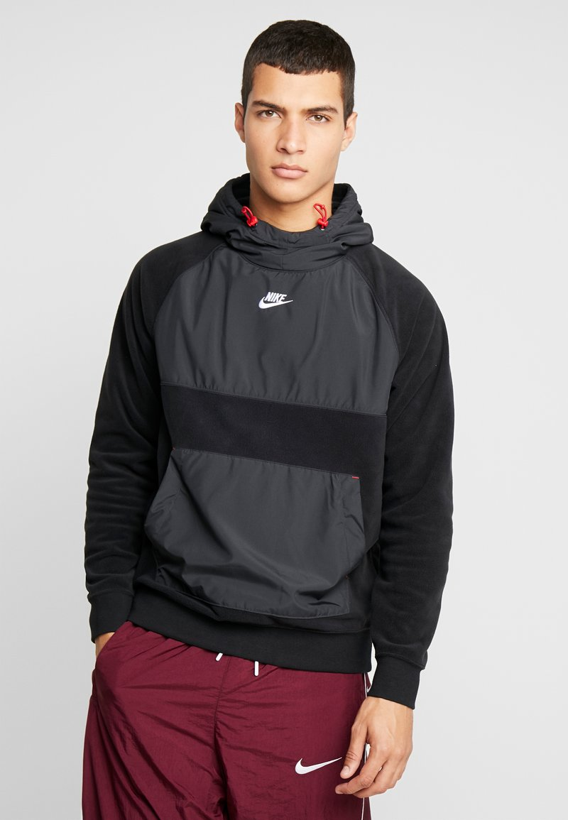 Nike Sportswear - HOODIE WINTER - Hoodie - black/off noir/gym red/white