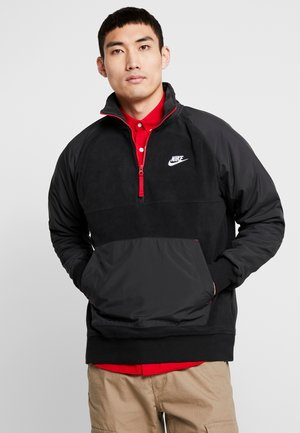 WINTER - Fleece trui - black/off noir/gym red/white