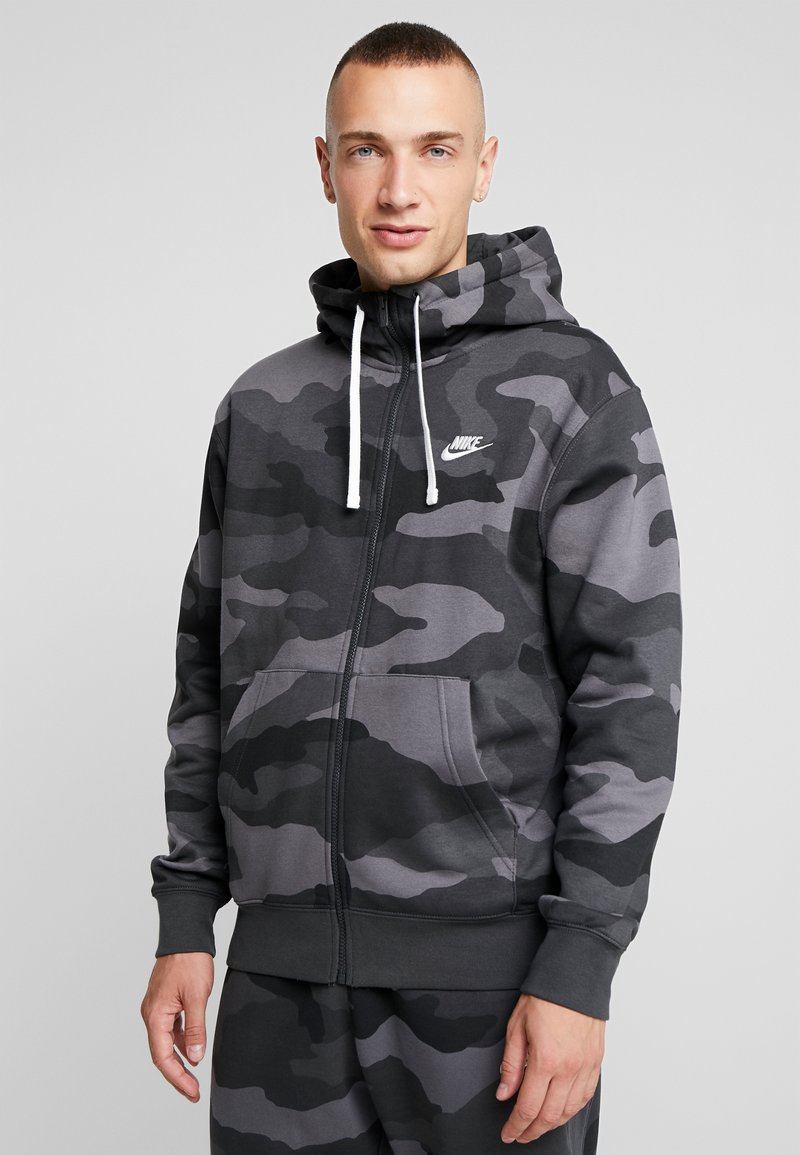Nike Sportswear - CLUB HOODIE CAMO - Hettejakke - dark grey/anthracite/white