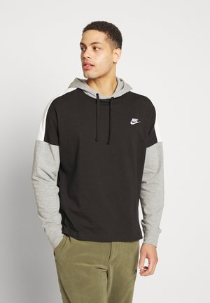 Hoodie - black/dk grey heather/sail/(white)