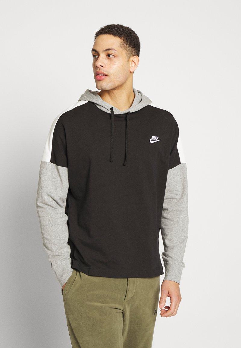 Nike Sportswear - Jersey con capucha - black/dk grey heather/sail/(white)