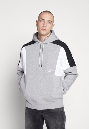 HOODIE - Huppari - grey heather/white/black