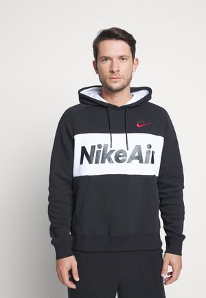 AIR HOODIE - Sweat à capuche - black/white/black/university red