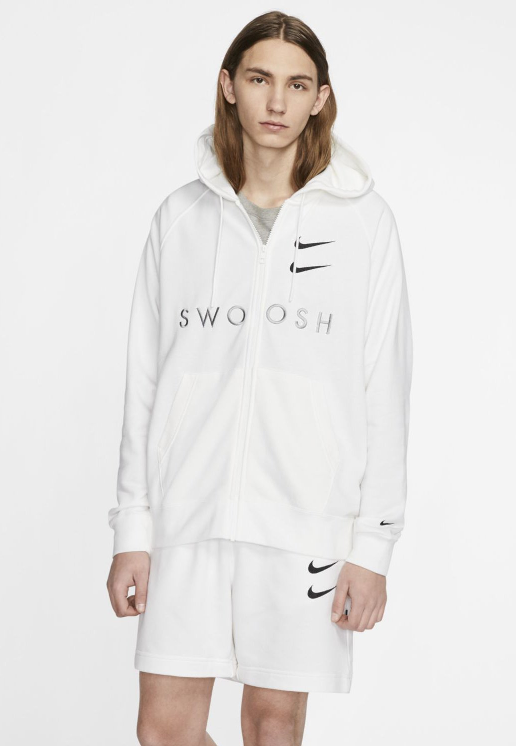 Nike Sportswear M NSW HOODIE FZ FT - Bluza rozpinana - white/particle grey/black