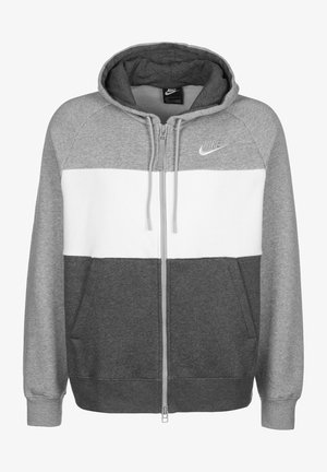veste en sweat zippée - dark grey heather/white