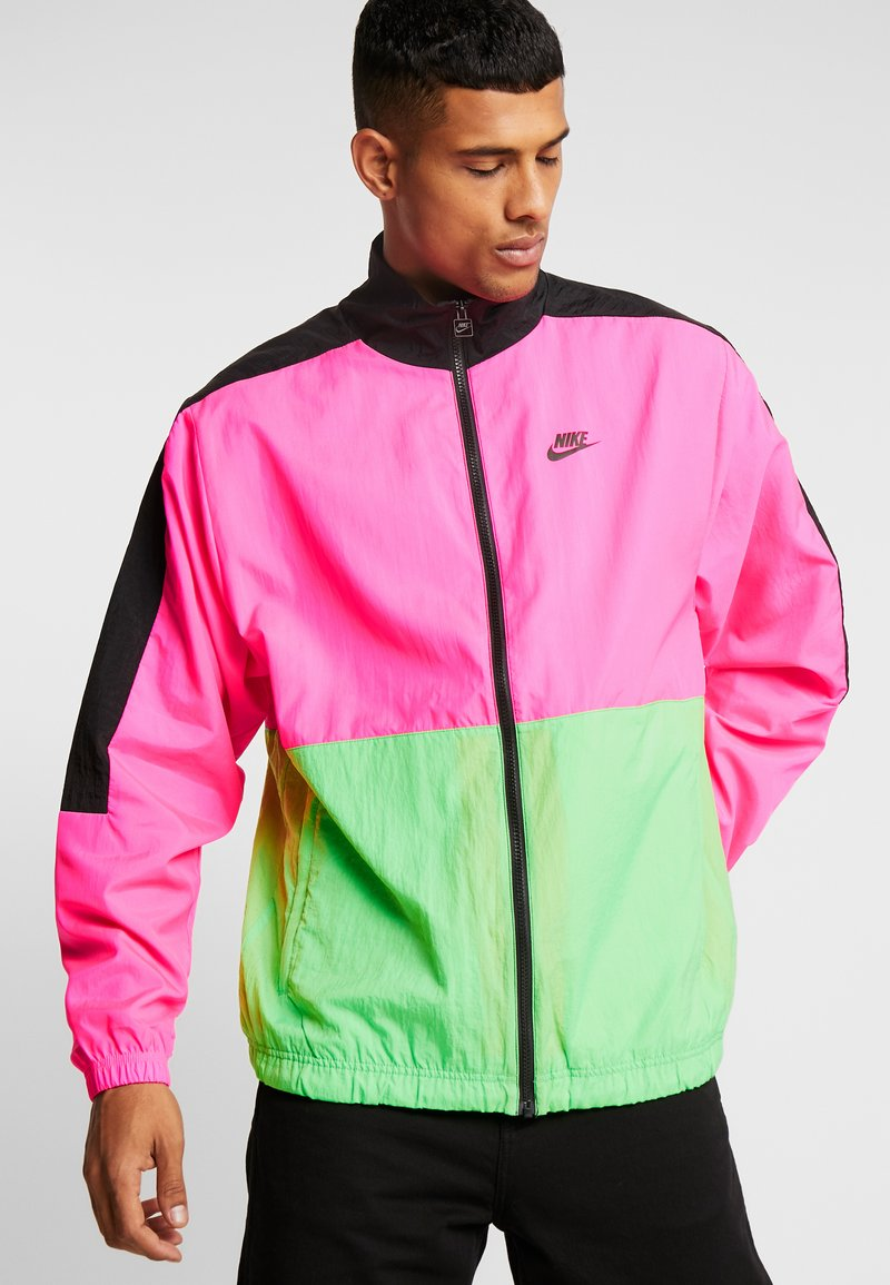 Nike Sportswear - WOVEN JACKET - Training jacket - black/hyper pink/scream green
