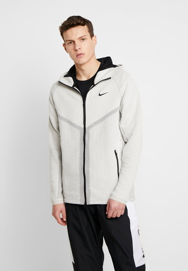 HOODIE - Huvtröja med dragkedja - light bone/black