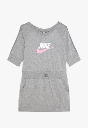 DRESS - Vestito di maglina - carbon heather/cool grey/pink