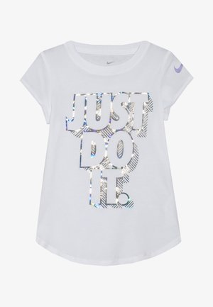 IRIDESCENT SCOOP TEE - T-shirt imprimé - white