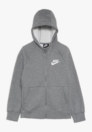 Zip-up hoodie - carbon heather/white