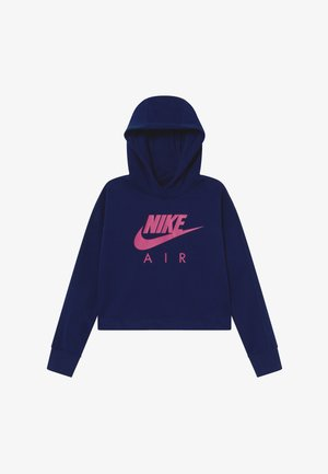 NIKE AIR CROP HOODIE - Hoodie - blue void/fire pink