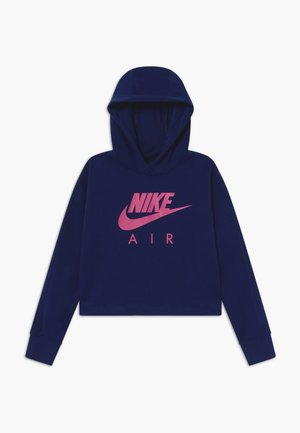 NIKE AIR CROP HOODIE - Felpa con cappuccio - blue void/fire pink