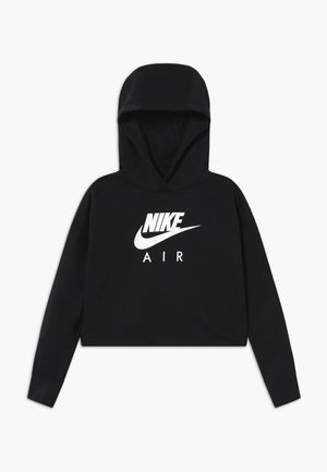 NIKE AIR CROP HOODIE - Luvtröja - black/white