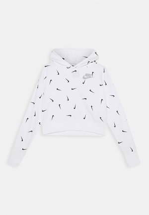 CROP HOODIE - Bluza z kapturem - white/smoke grey