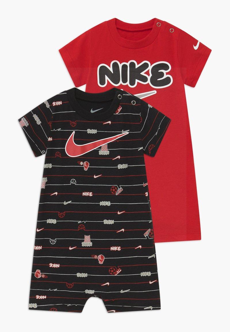 Nike Sportswear - STRIPE ROMPER BABY 2 PACK - Overal - black/red
