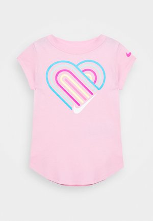 LINED HEART SCOOP TEE - T-shirt con stampa - pink