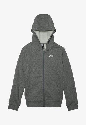 HOODIE CLUB - veste en sweat zippée - carbon heather/smoke grey/white