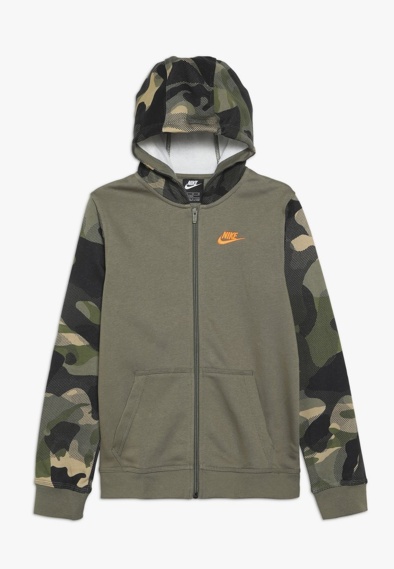 Nike Sportswear - CLUB - Hoodie met rits - medium olive/total orange