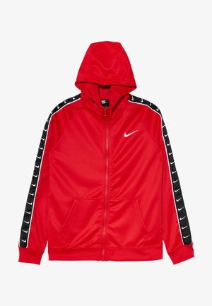 HOODY TAPE - veste en sweat zippée - university red/white
