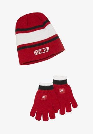 STRIPE BEANIE GLOVE SET - Gloves - university red