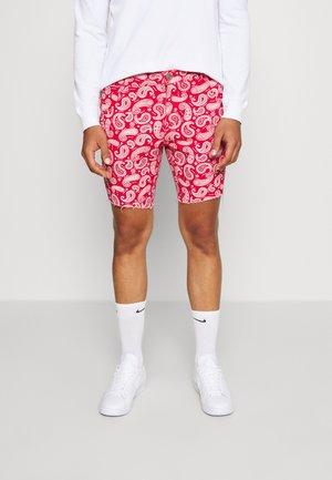 NASULLY - Denim shorts - red/white