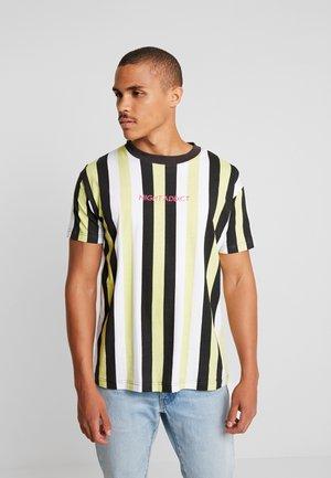 T-shirt print - green/black/ white stripe
